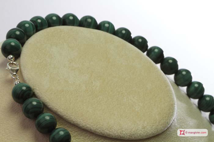 Extra Malachite Necklace 12mm round in Gold