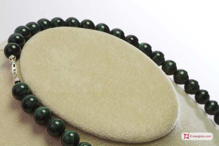 Extra Malachite Necklace 10mm round in Gold