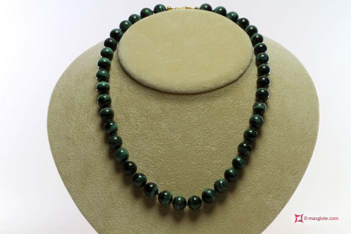 Extra Malachite Necklace 10mm round L45 in Silver