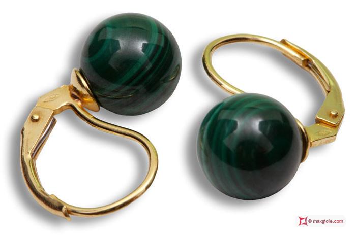 Extra Malachite Earrings 8mm in Yellow Gold 18K mmp