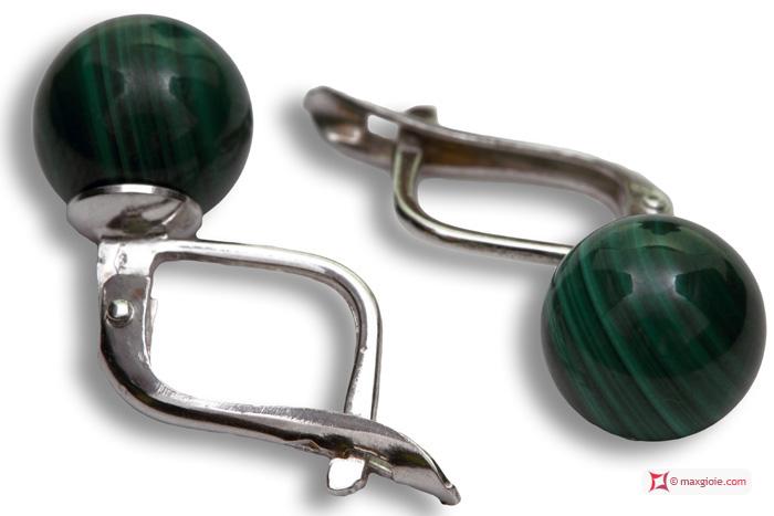 Extra Malachite Earrings 8mm in White Gold 18K m