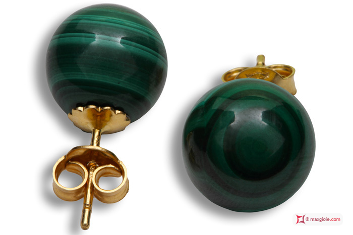 Extra Malachite Earrings 10mm in Yellow Gold 18K