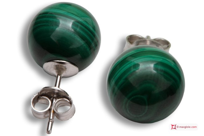 Extra Malachite Earrings 10mm in White Gold 18K