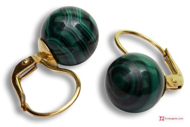 Extra Malachite Earrings 10mm in Yellow Gold 18K mmg