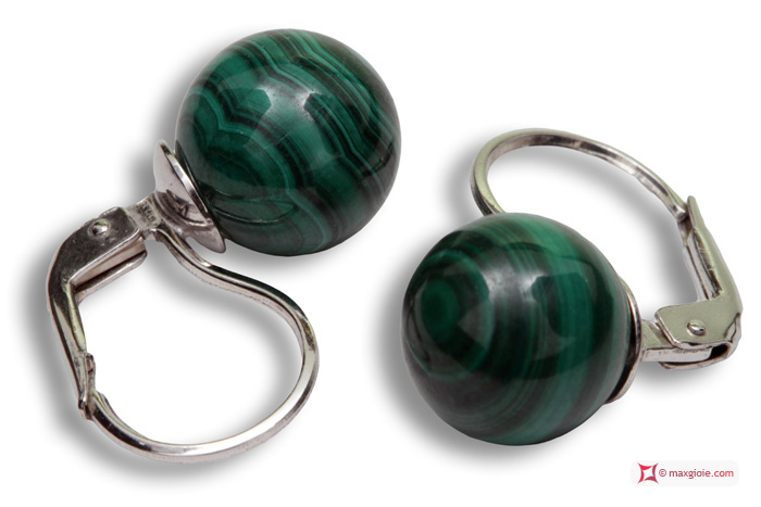 Extra Malachite Earrings 10mm in White Gold 18K mmg