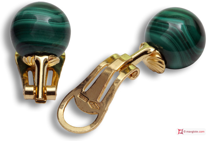 Extra Malachite Earrings 10mm in Yellow Gold 18K clip
