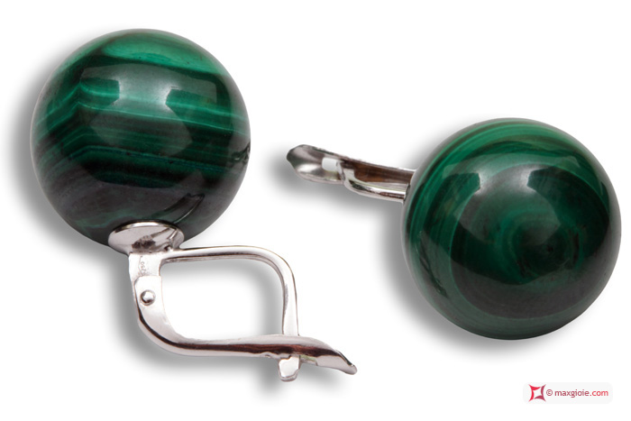 Extra Malachite Earrings 14mm in White Gold 18K m