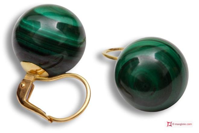 Extra Malachite Earrings 14mm in Gold 18K mmp