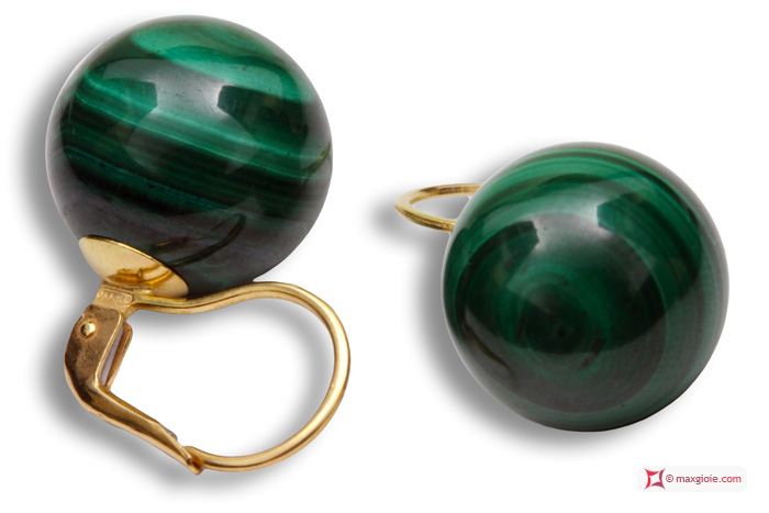 Extra Malachite Earrings 14mm in Gold 18K mmp