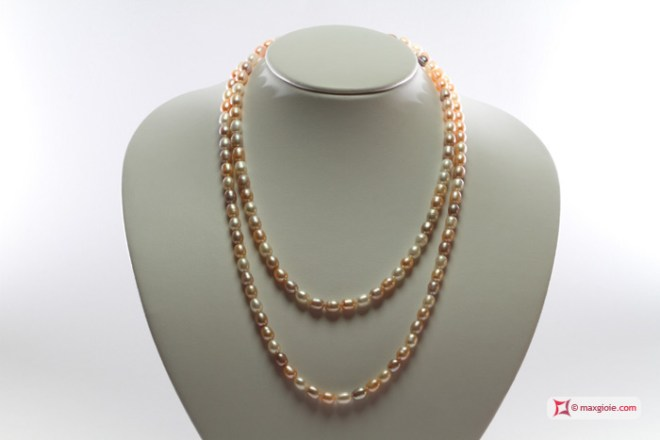 Biwa Pearl Necklace multicolor TOP 6-6½mm in Gold 18K