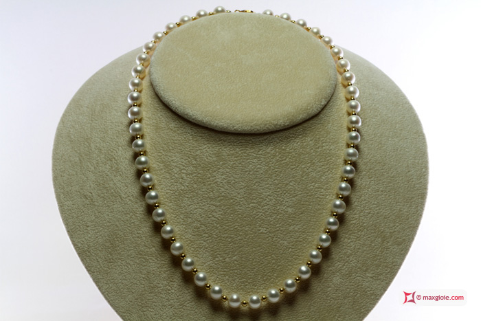 Pearl Necklace white TOP gold dots 7-7½mm in Gold 18K