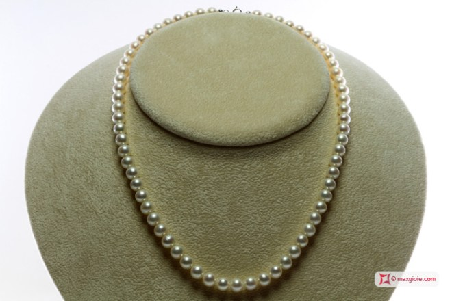 Pearl Necklace white TOP 6-6½mm in Gold 18K