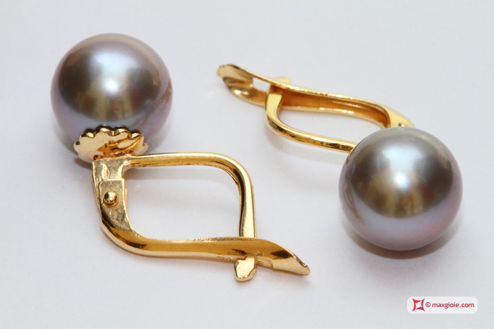 Akoya Pearl Earrings gray TOP 8-8½mm in Yellow Gold 18K m