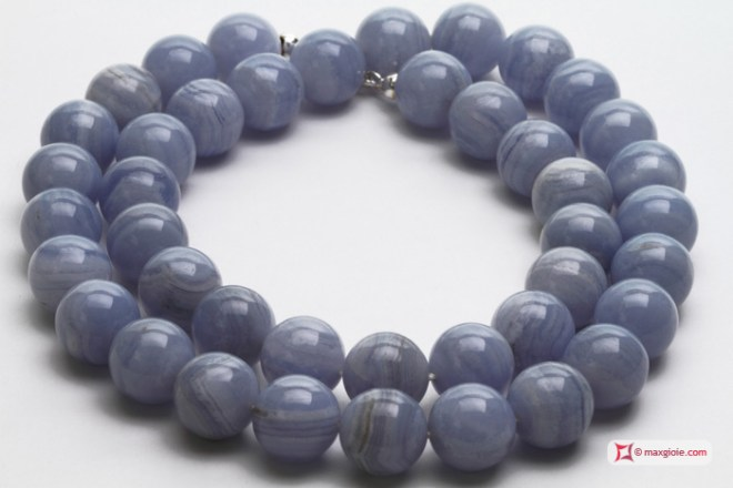 Extra Blue Lace Agate Necklace 14mm round in Silver