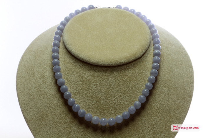 Extra Blue Lace Agate Necklace 8mm round in Silver