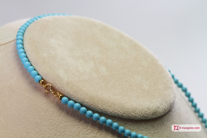 Extra Turquoise Necklace 4mm in Gold 18K