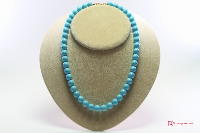 Extra Turquoise Necklace 10mm in Gold 18K