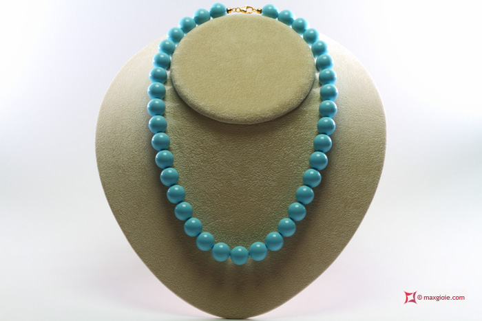 Extra Turquoise Necklace 12mm in Gold 18K