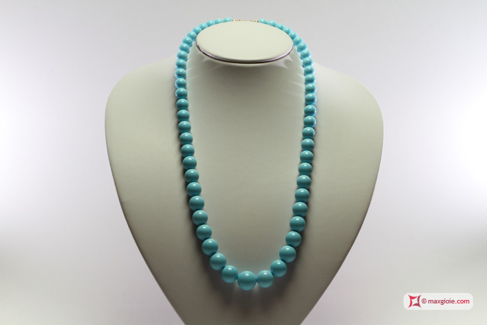 Extra Turquoise Necklace 15-8mm graduated in Gold 18K