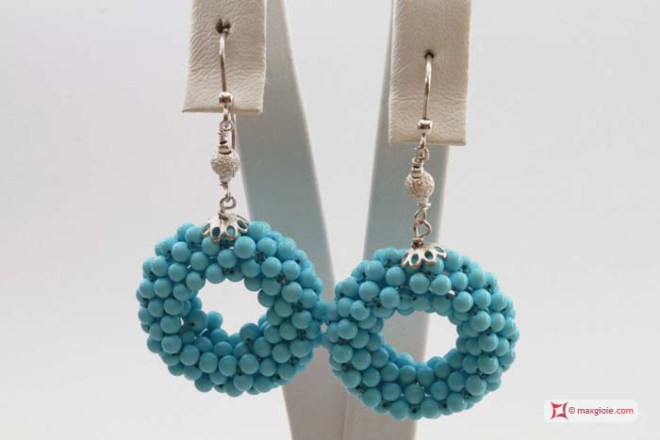 Extra Turquoise Earrings 28mm circle weaved 3mm round in Silver
