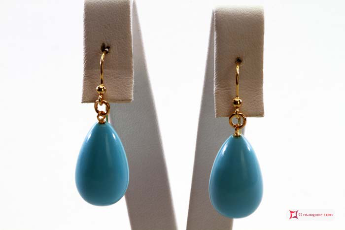 Extra Turquoise Earrings 12x20mm in Gold 18K