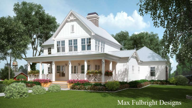 2 Story House Plan with Covered Front Porch 2 story white farmhouse house plan