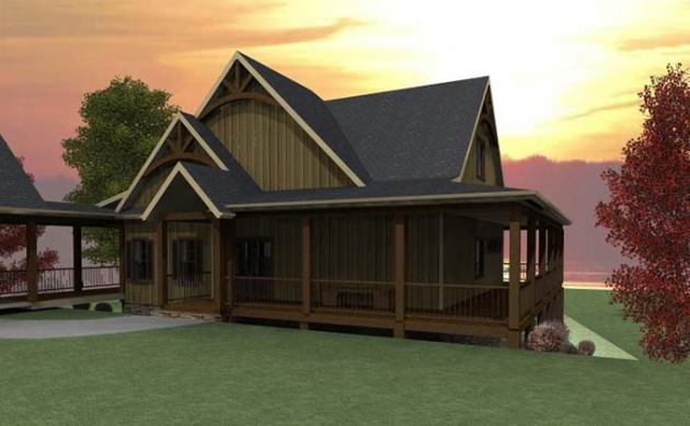 3 Bedroom Open Floor Plan with Wraparound Porch and Basement lakefront home plan wraparound porch and 2 car