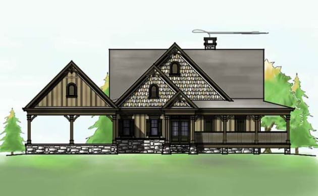 3 Bedroom Open Floor Plan with Wraparound Porch and Basement lakefront house plan with wraparound porch and walkout