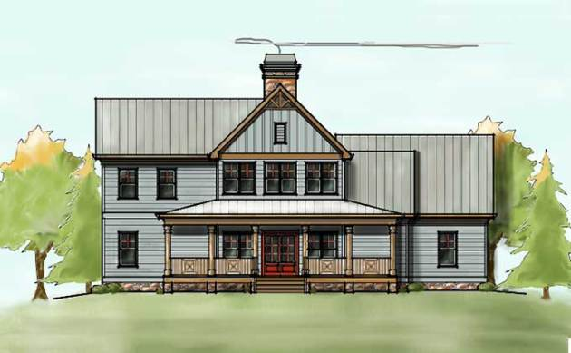 2 Story House Plan with Covered Front Porch 2 story house plan with front porch