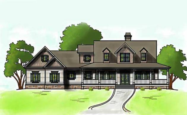 Low Country Farmhouse Plan with Wrap Around Porch low country farmhouse house plan
