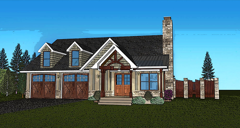 Rustic One Story Cottage House Plan