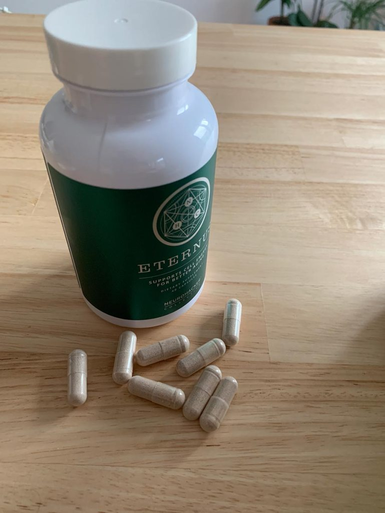 A bottle of Neurohacker's Eternus with some pills