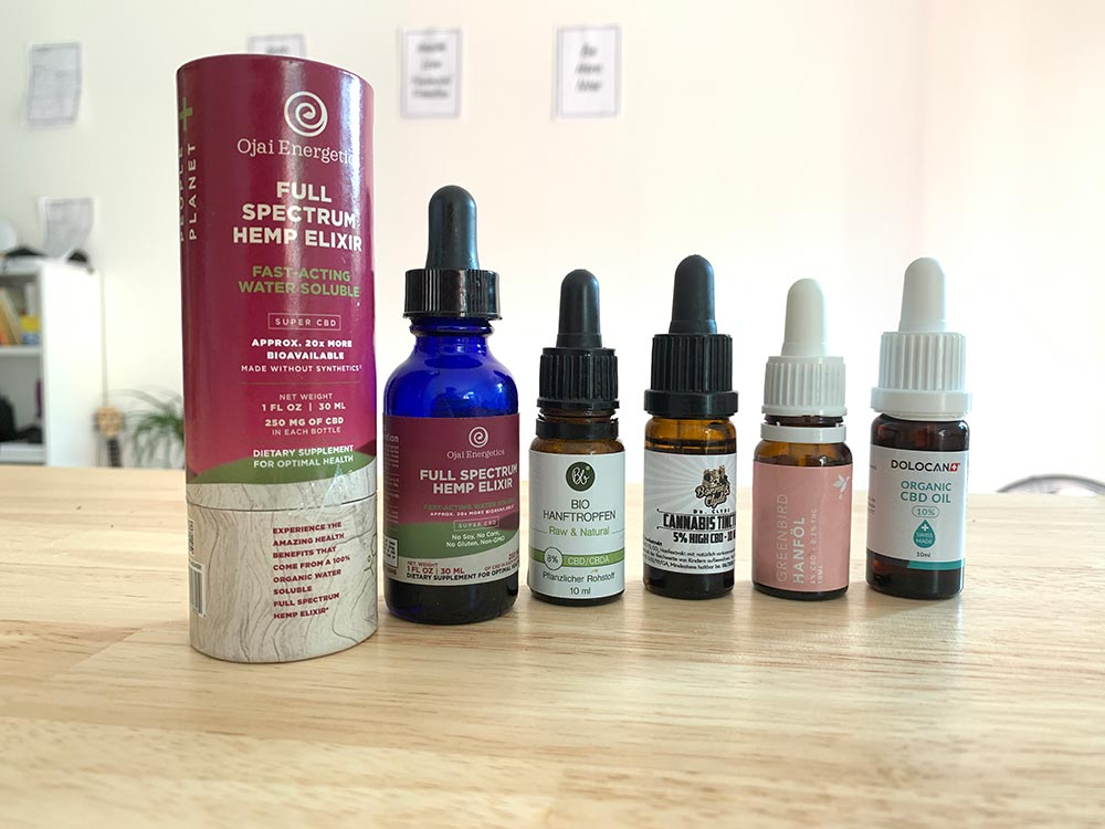 Five bottles of CBD oil