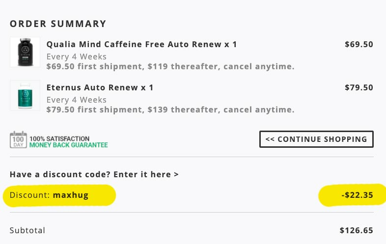A screenshot of the discount code MAXHUG applied at the Neurohacker.com checkout