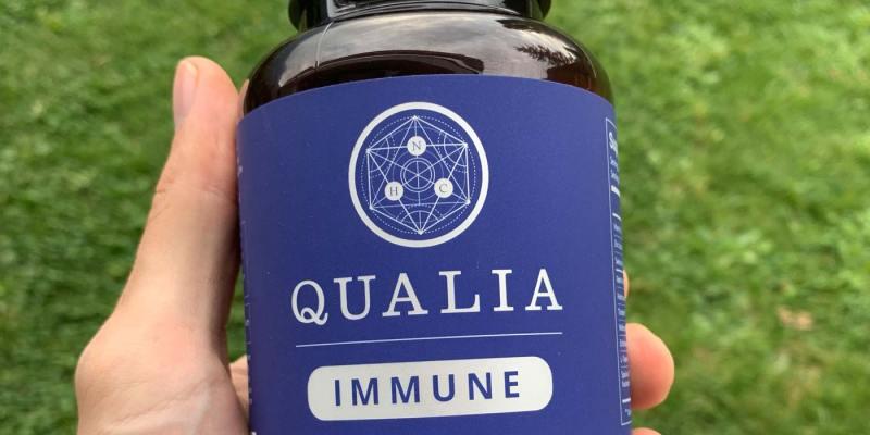 Close up of a bottle of Qualia Immune