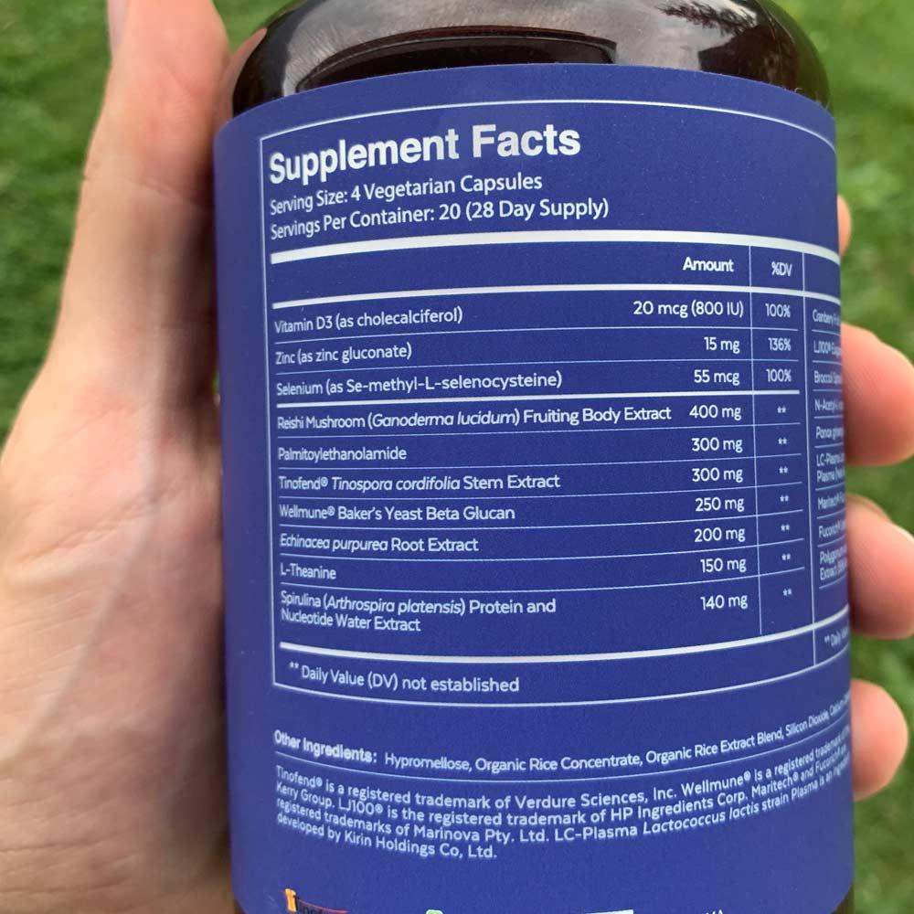 Qualia Immune Bottle showing Supplement Facts