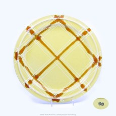 Pacific Pottery Hostessware Decorated BG 639 Base Plate Yellow