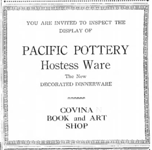 Pacific Pottery Decorated Hostessware Advertising Covina 1934