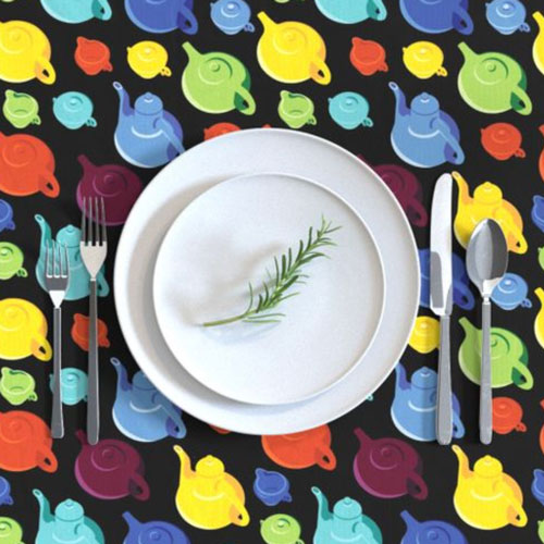 Qwkdog California Teapots Pattern Black Tablecloth 02