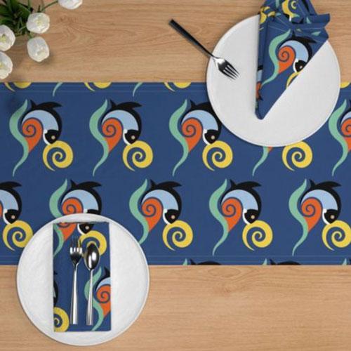QwkDog California Fish Tile Design Pattern Runner 01