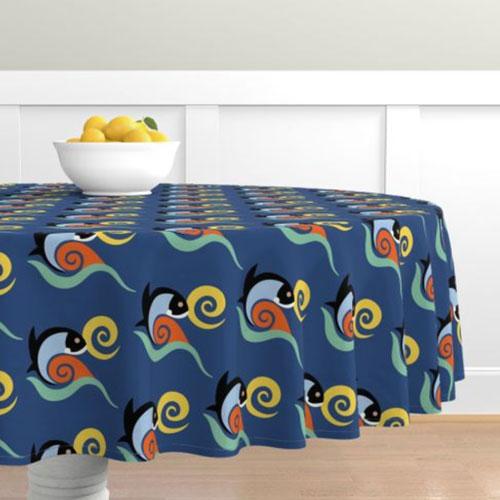 QwkDog California Fish Tile Design Pattern Tablecloth 01