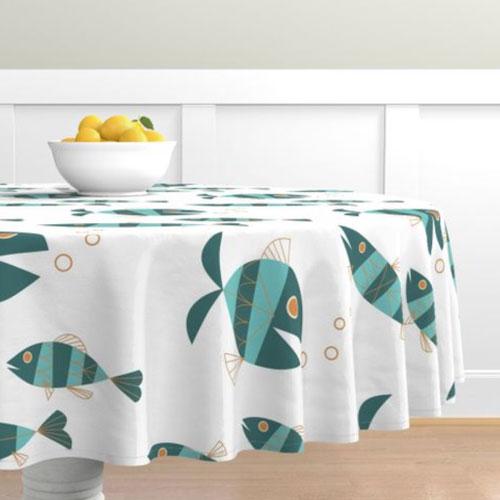 QwkDog Metlox Tropicana Fish Design Tablecloth 01