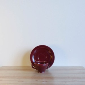Vernon Kilns Early California Demi Cup Saucer Angled Maroon