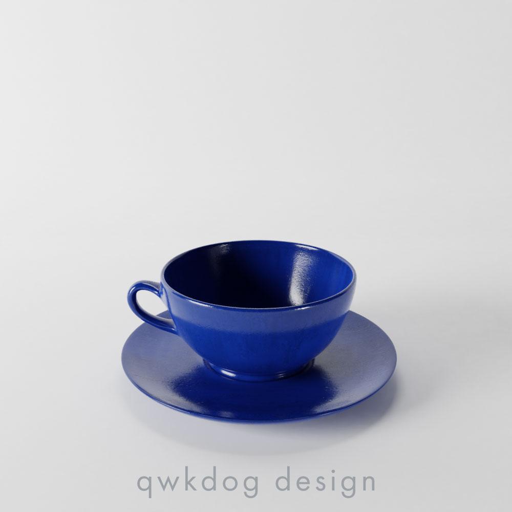 QwkDog Bauer Pottery Plainware Cup & Saucer