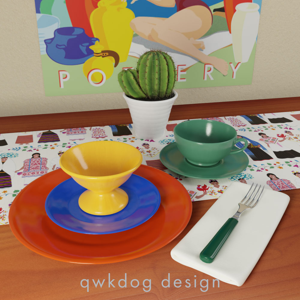 QwkDog Bauer Pottery Plainware Setting