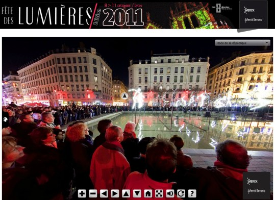 Capture écran de la visite virtuelle de la fête des lumières 2011