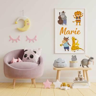 """Affiche """"les animaux musiciens"""" - Modèle Marie"""