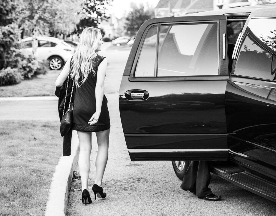 prom dress and a limousine
