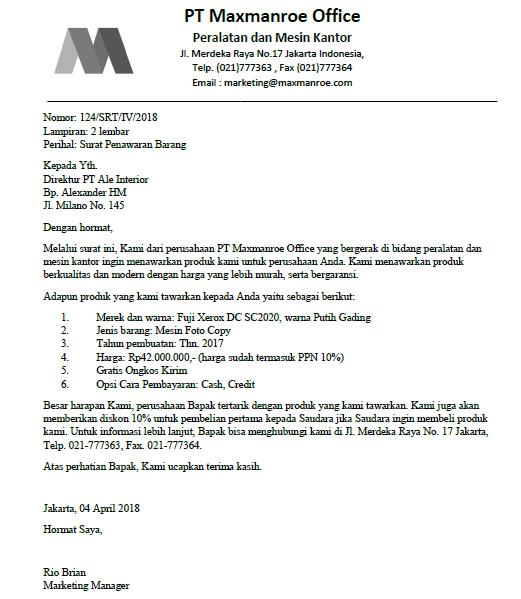 Contoh Surat Permohonan Pengadaan Barang Kantor