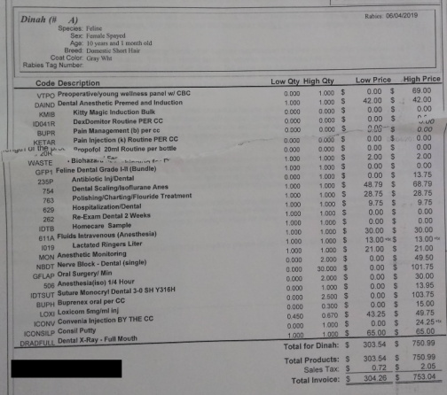 An invoice showing an estimate for cat dental cleaning cost coming. This estimate shows a cost range from $304.26 to $753.04.